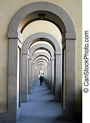 Perspective - Architectural details of a walkway in...