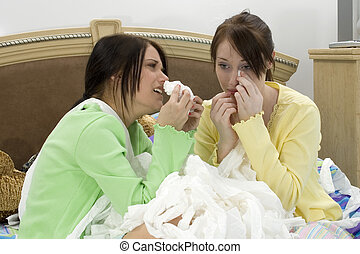 Boyfriend Trouble - Two teen girls crying into a huge pile...