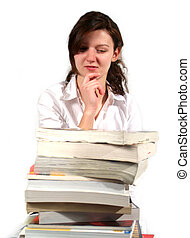 School Girl with books - School Girl and a whole pile of her...