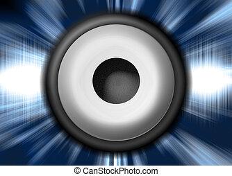 Speaker - Illustration of a Speaker in front of Soundwaves