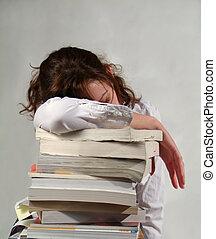 escuela, niña, Libros