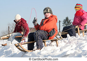 Sledding - Children sledding