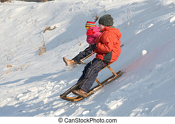 Sledding - Children sledding