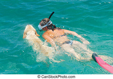 Swimming with dog - Woman swimming with her labrador...