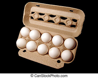 Eggs 2 - Ten eggs in a paper box, isolated on black