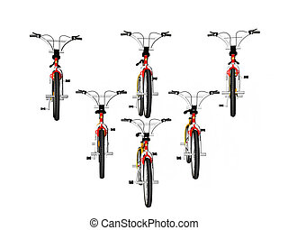 Bicycles in formatio - Isolated Bicycles in formation