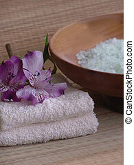 Spa Products - Bath products including folded towels,bath...