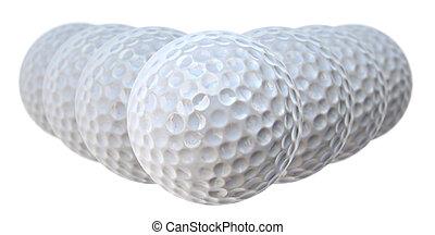 golf balls - white golf balls V shape