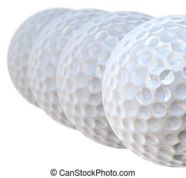 golf balls - lined up golf balls close up