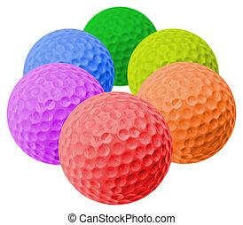 golf balls - six colored golf balls arranged like an hexagon