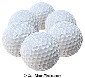 golf balls - six white golf balls arranged like an hexagon