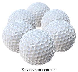 golf balls - six white golf balls arranged like an hexagon