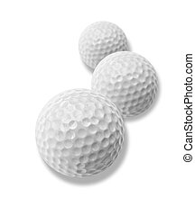 golf balls - three white golf balls with drop shadow