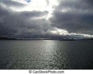 traghetto, stato,  Washington