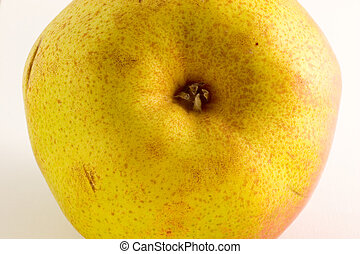 The Problem with Pears 2 - Macro photo of a pear on a white...