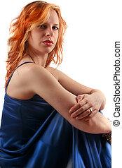 lady in satin - beautiful glamorous redhead