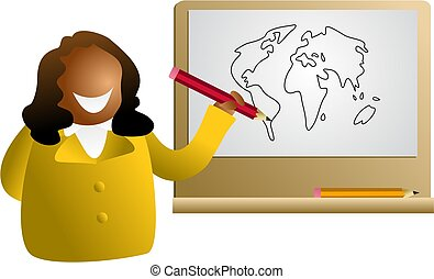 global drawing - woman drawing a map of the world - icon...