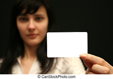 Empty visiting card - The woman with an empty visiting card...