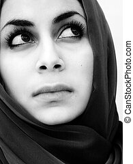 beautiful sad woman - Black and white portrait of a...