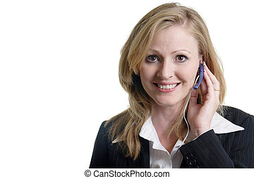 Friendly receptionist with head set on white