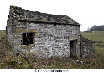 Deserted farmhouse, Youlgreave, Peak District National Park,...