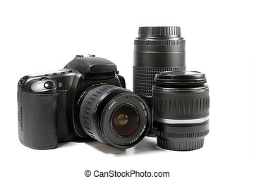 dSLR with lenses on white background, logos removed