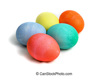 Easter Eggs With Path - Five hand died Easter eggs isolated...