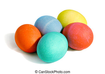 Five Colored Eggs - Five colored easter eggs, isolated with...