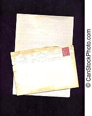 Old letter and envelope stamped in 1968. Background. Blank...