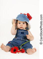 County Girl in Denim - Beautiful young baby girl wearing...