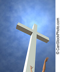 Risen - An idealized cross and reaching hands 3D render Room...