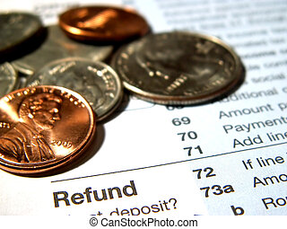 income tax refund - coins with tax refund