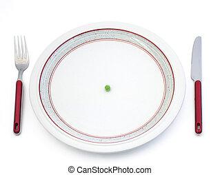 Diet - Single pea on plate
