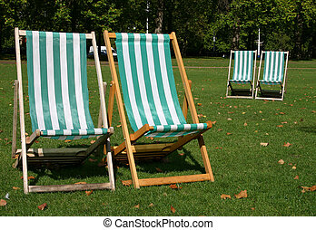 Empty deck chairs - Forlorn looking empty deck chairs in a...