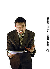 Business Frustration - Man in business suit showing...