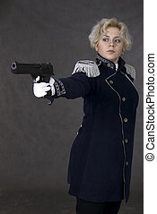woman in uniform - woman with gun