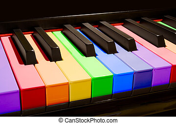 The Rainbow Piano - Color isolated piano keys in the colors...