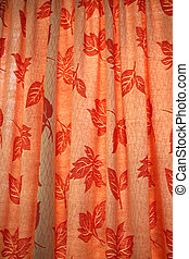 Leaf Motifs - Vermilion curtains with leaf motifs