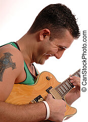 guitar player 1 - happy guitar player with tattoo 2502