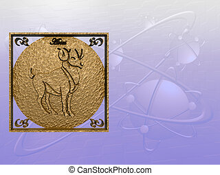 Horoscope, Aries - Zodiac horoscope brass logo aries, 3D...