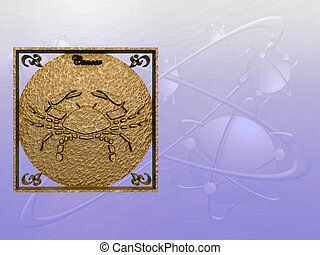 Horoscope, Cancer - Zodiac horoscope brass logo cancer, 3D...