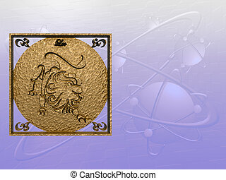 Horoscope, Leo - Zodiac horoscope brass logo leo, 3D...