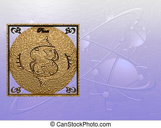 Horoscope, Pisces. - Zodiac horoscope brass logo pisces, 3D...