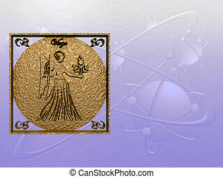 Horoscope, virgo. - Zodiac horoscope brass logo virgo, 3D...