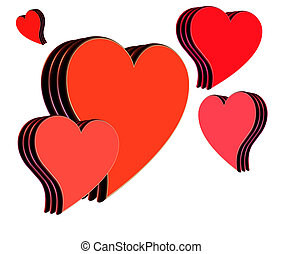 hearts - isolated hearts in different shades of red