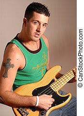 bass player 2516 - bass player iron cross tattoo model...