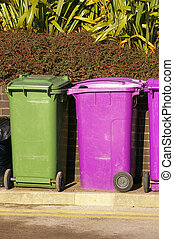 Dustbins 02 - A row of purple and green waste bins down by...