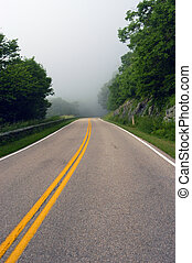 Driving in the fog - Skyline drive in Shenandoah national...