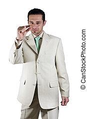 hombre de negocios, Señalar, afuera, poco, importancia