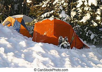 Snow Campground - Two tents, about 6,000 feet up on Mt....
